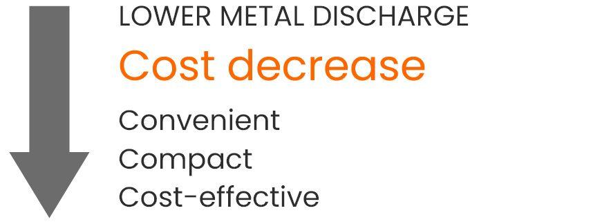 a grey arrow downwards symbolizing cost decrease